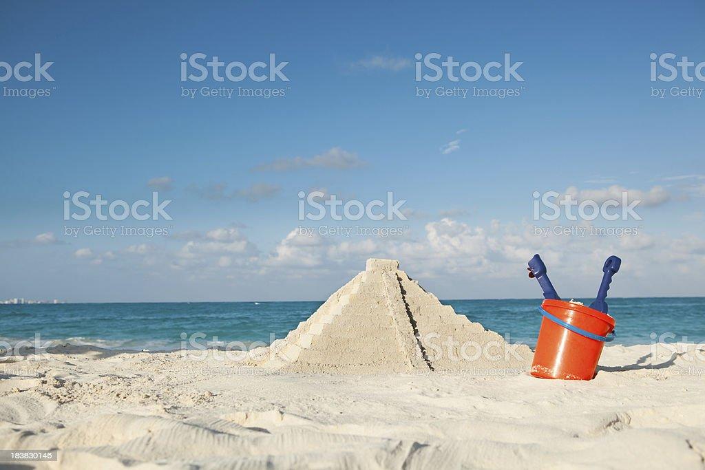 Aztec Pyramid Sand Castle on Mayan Riviera Beach, Cancun, Mexico stock photo