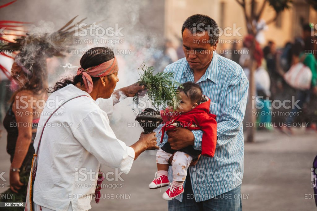 Aztec Shaman, Mexico City stock photo