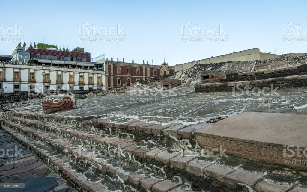 Aztec Temple (Templo Mayor) and serpent head at ruins of Tenochtitlan - Mexico City, Mexico stock photo