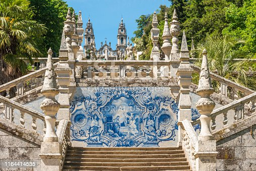 LAMEGO, PORTUGAL - CIRCA MAY 2019: Azulejo decorated stairway to the Sanctuary of Our Lady of Remedios in Lamego - Portugal