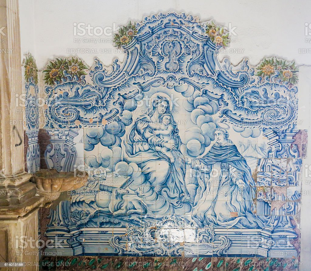 Azulejo in the Cathedral of Aveiro stock photo