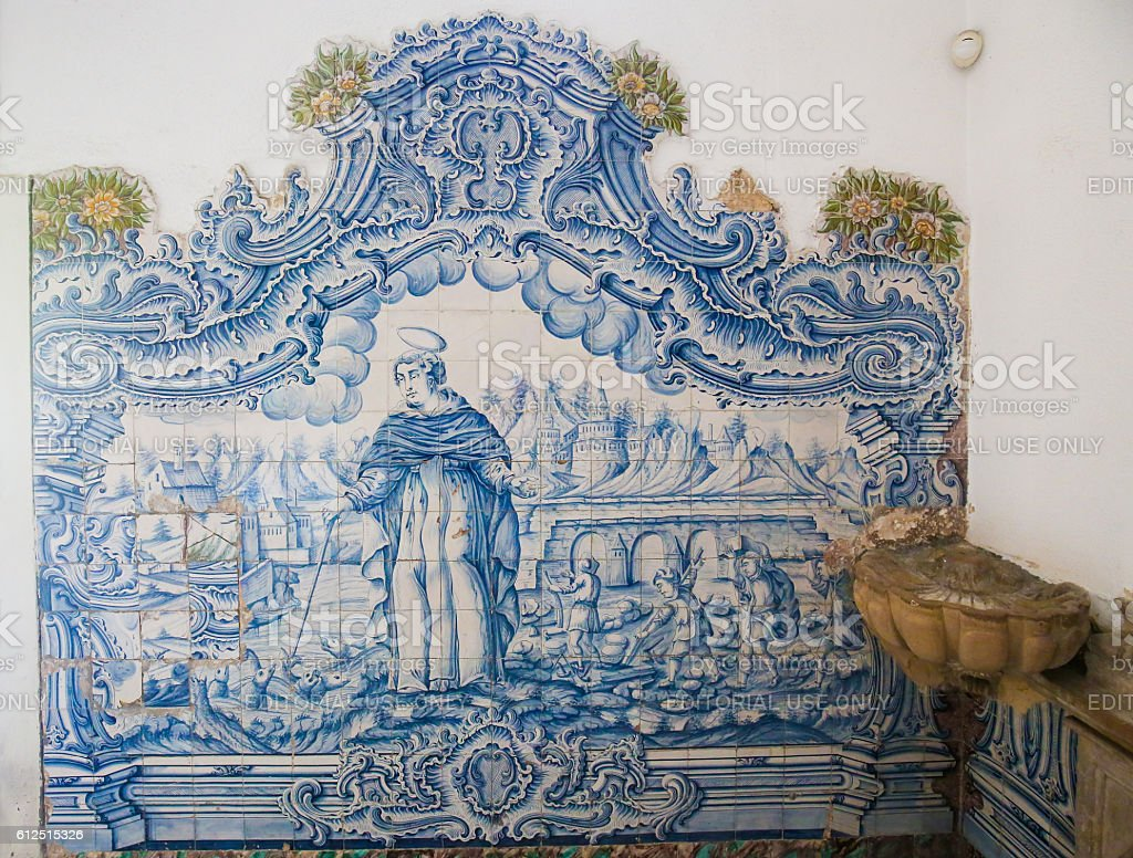 Azulejo of Saint Dominic in the Cathedral of Aveiro stock photo