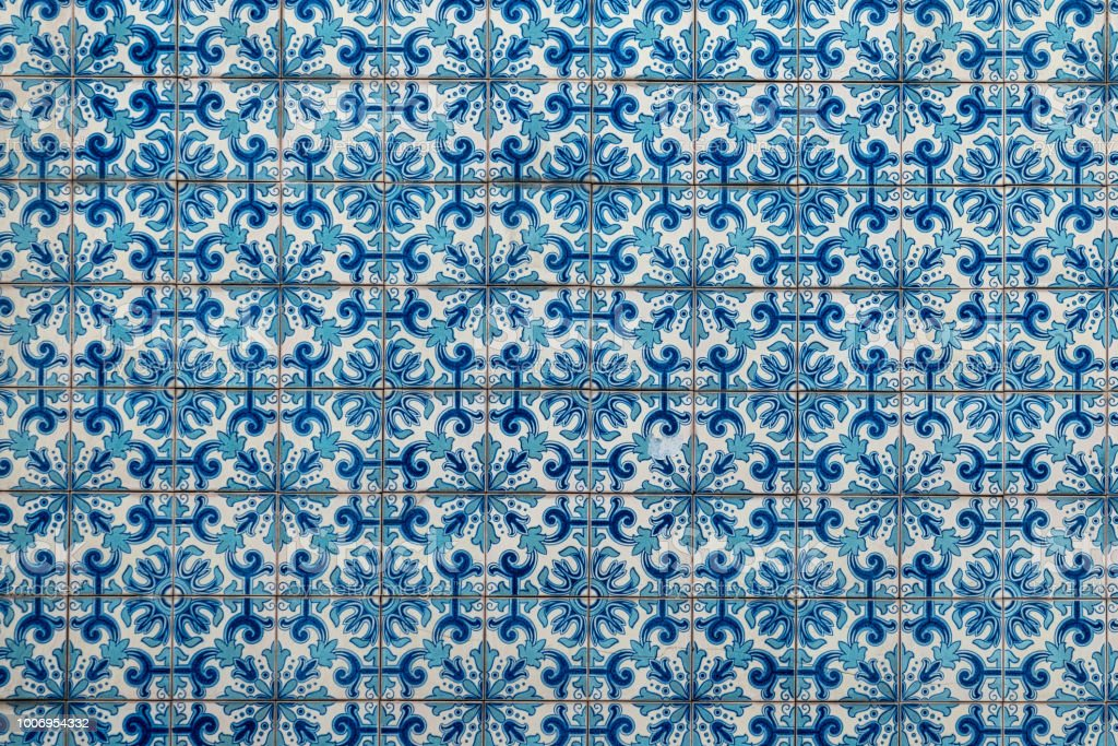 Azulejo, old traditional painted tiles in Portugal stock photo