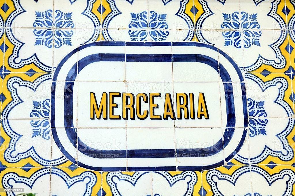 Azulejo signboard in Lisbon - fotografia de stock