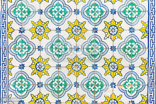 istock Azulejos tiles on a wall in Lisbon 801725894