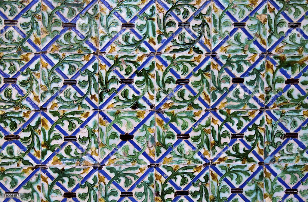 Azulejos tiling detail of Casa de Pilatos royalty-free stock photo