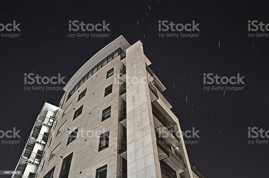 Azure apartments on Plymouth Hoe at night royalty-free stock photo