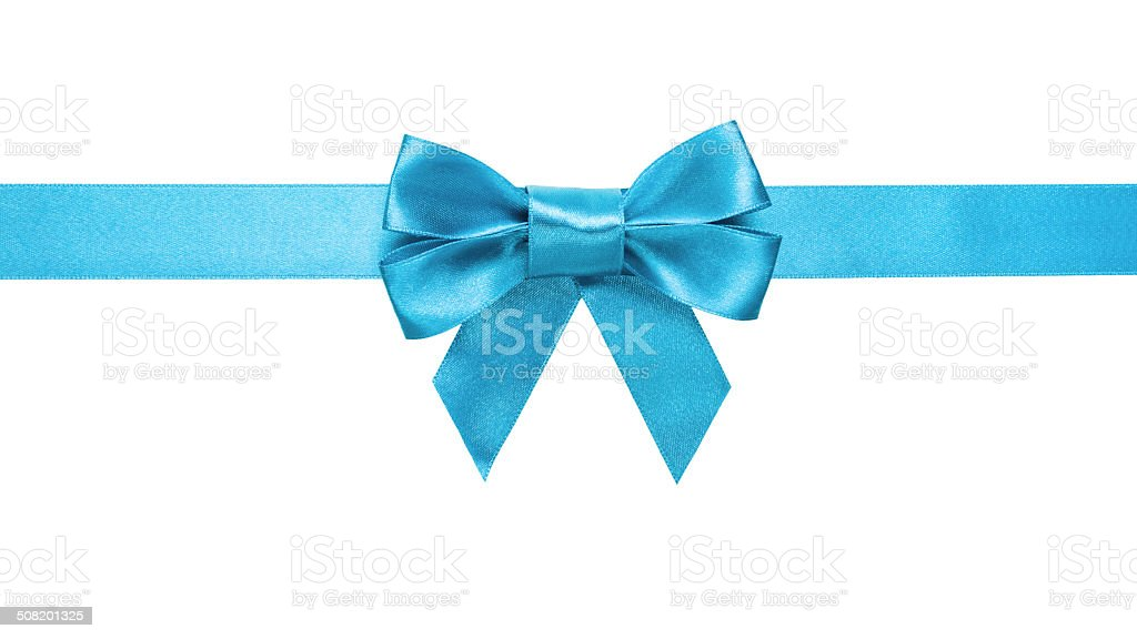 azure blue ribbon bow horizontal border stock photo