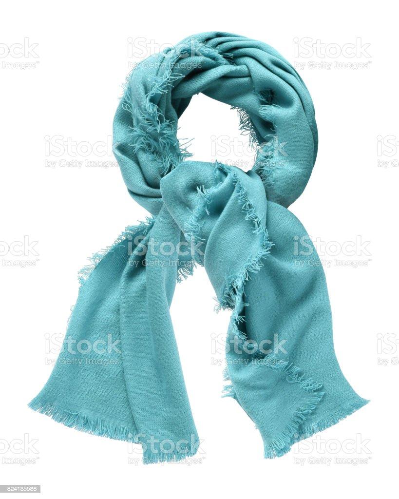 Azure blue wool shawl isolated on white stock photo