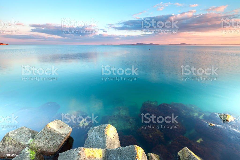 Azure seaside at dusk in sprintime royalty-free stock photo