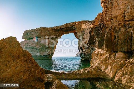 istock Azure window in sunset. Gozo island, Malta. 1297215929