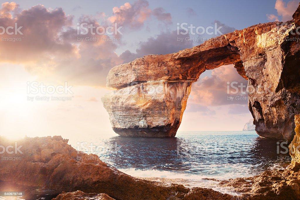 Azure window in sunset, Malta stock photo