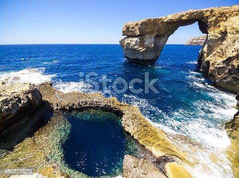 istock Azure Window  with foreground in Gozo, Malta 480323520