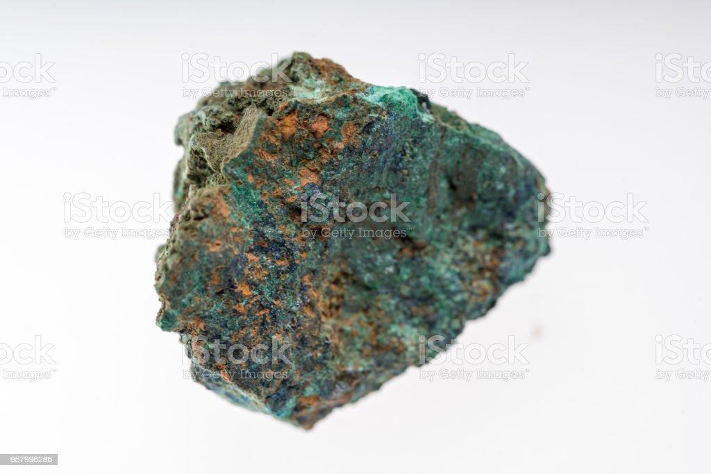 azurite mineral on white background studio shot stock photo