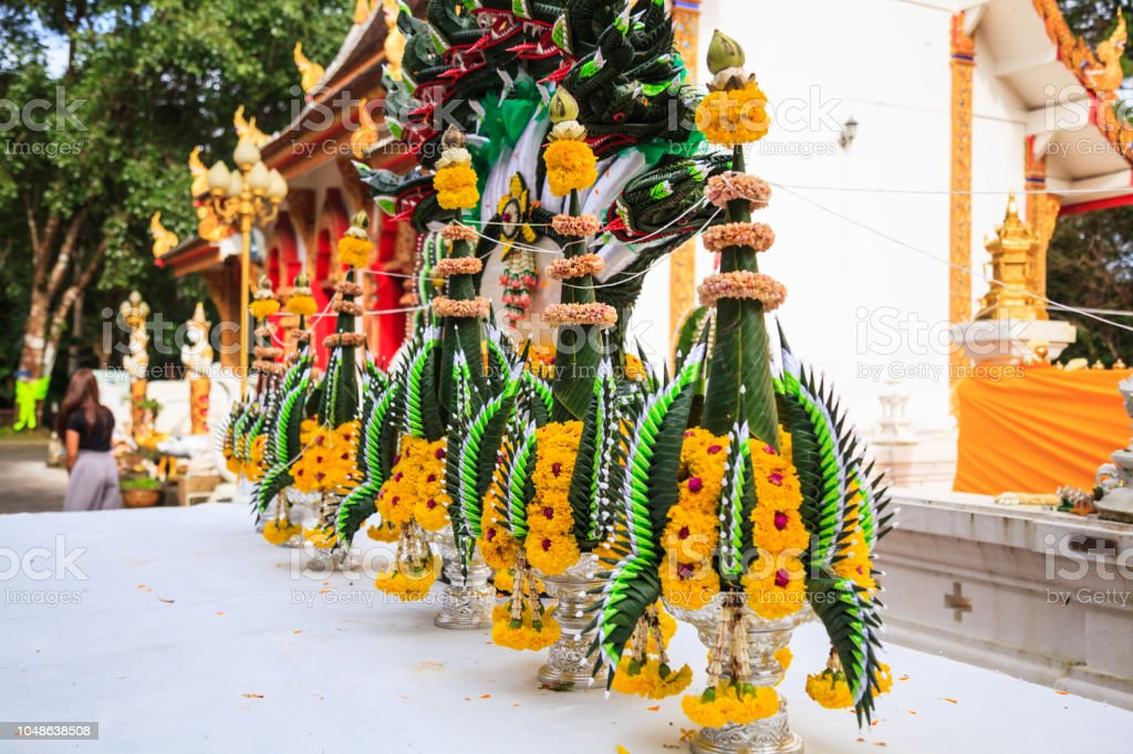Baai Sri Trays in Thai Buddhism Brahman ceremony to console people's life spirit to return to people's body, and also be an expression of congratulation, joy, and appeasement for the owner from guests stock photo