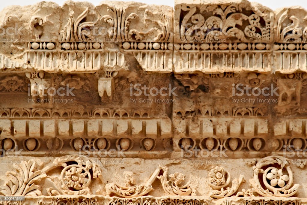 Baalbek - carvings in the ancient Phoenician city stock photo