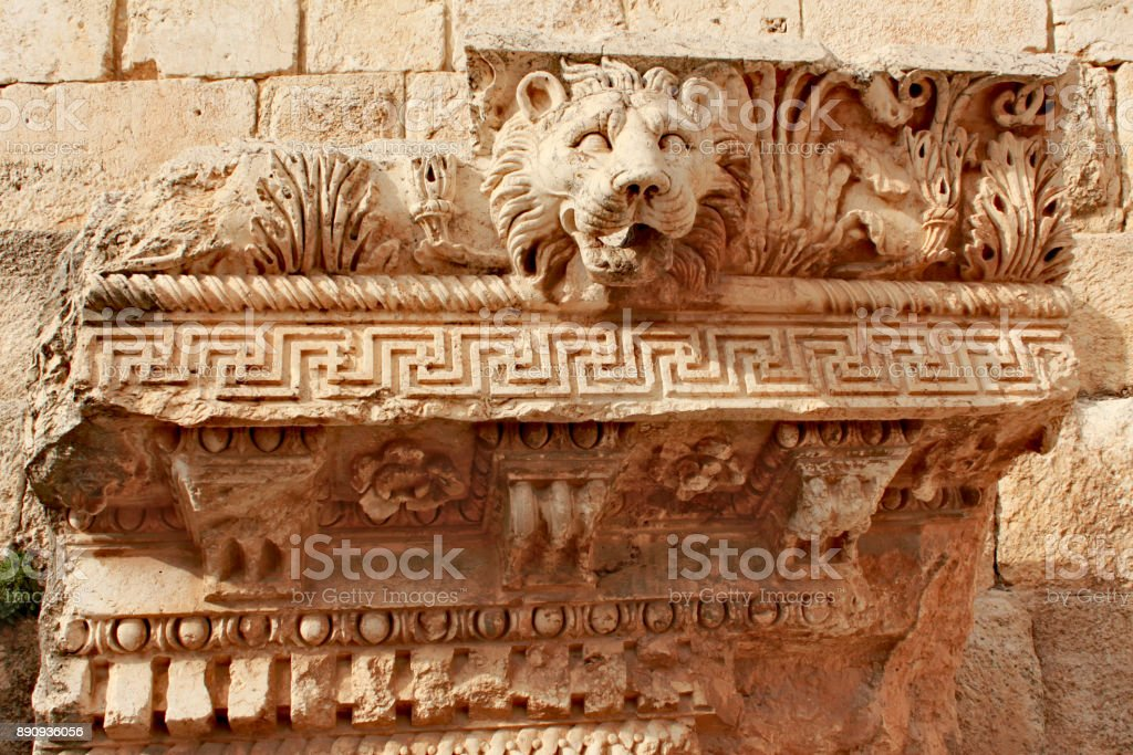 Baalbek - ornaments of the temple of Jupiter in ancient Phoenician city stock photo