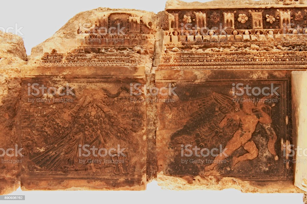 Baalbek - ornaments on ruins of the ancient Phoenician city stock photo
