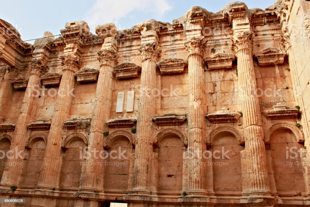Baalbek - ruins of the Bacchus temple in the ancient Phoenician city stock photo