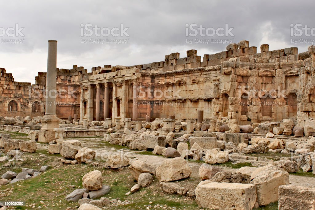 Baalbek - ruins of the Great Court in the ancient Phoenician city stock photo