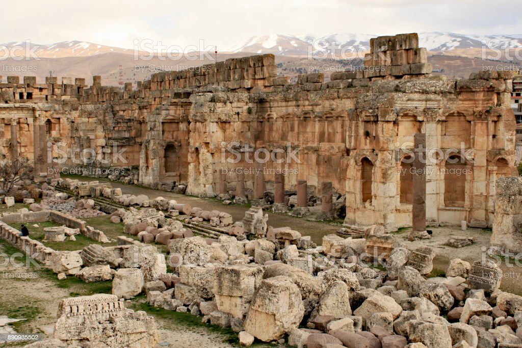 Baalbek - ruins of The Great Court the ancient Phoenician city stock photo