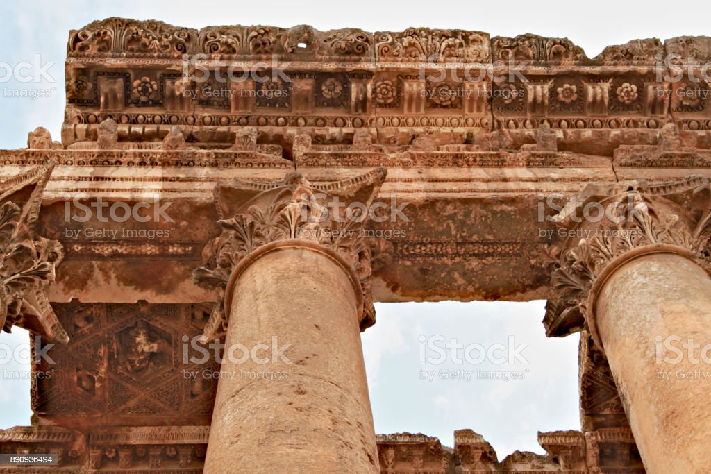 Baalbek - ruins of the temple of Jupiter in ancient Phoenician city stock photo