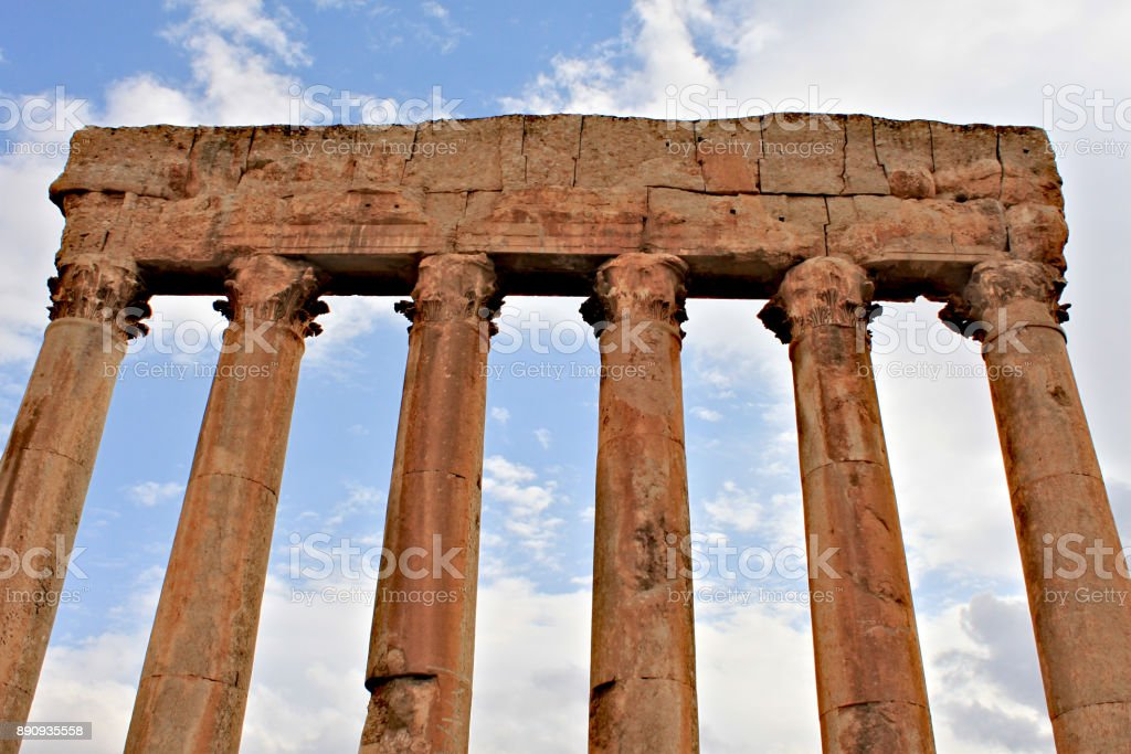 Baalbek - ruins of the temple of Jupiter in the ancient Phoenician city stock photo