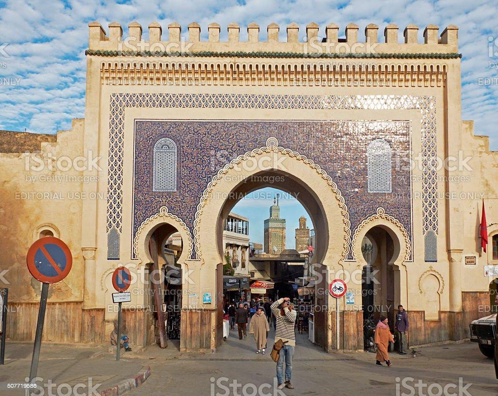 Bab Bou Jeloud Fez El Bali Medina Fez Morocco Africa Stock