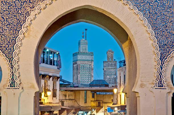 bab bou jeloud gate at fez, morocco - marocko bildbanksfoton och bilder