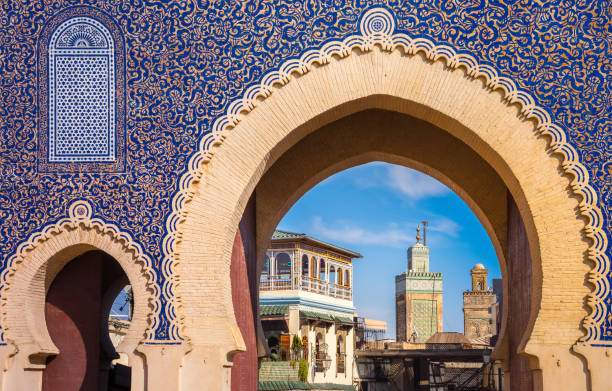 Bab Bou Jeloud gate (The Blue Gate) located at Fes, Morocco stock photo