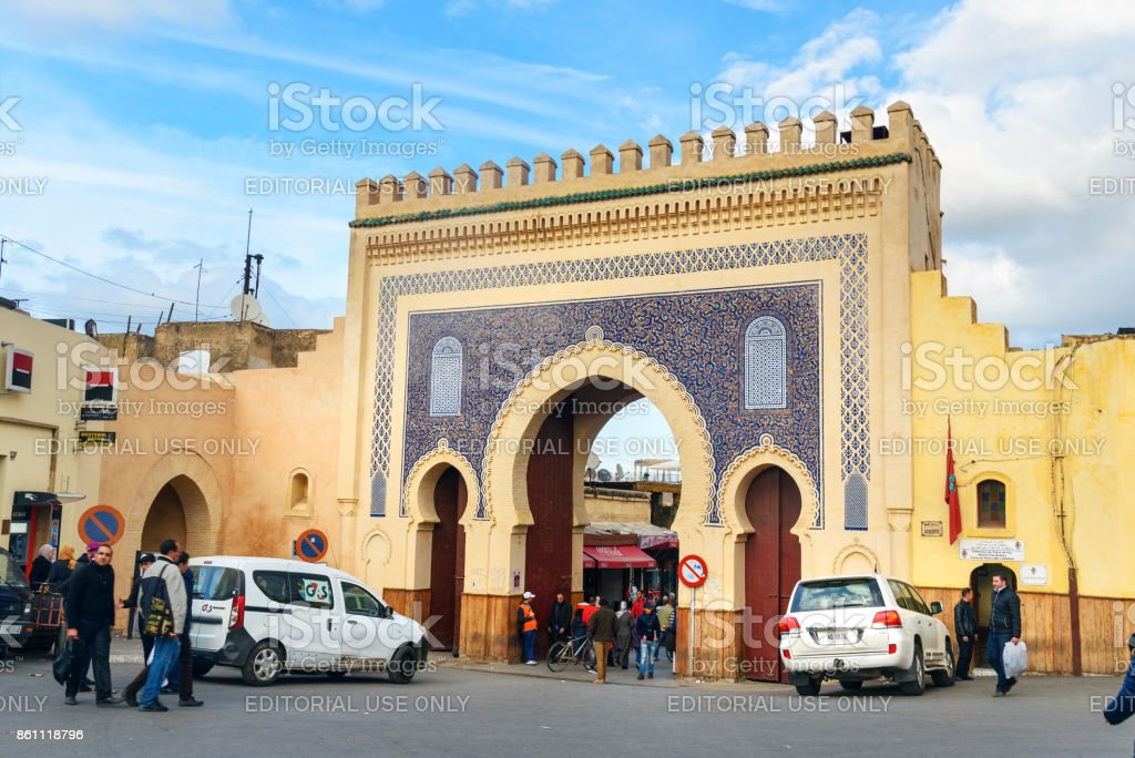 Bab Boujloud, or the Blue Gate. Fes. Morroco stock photo