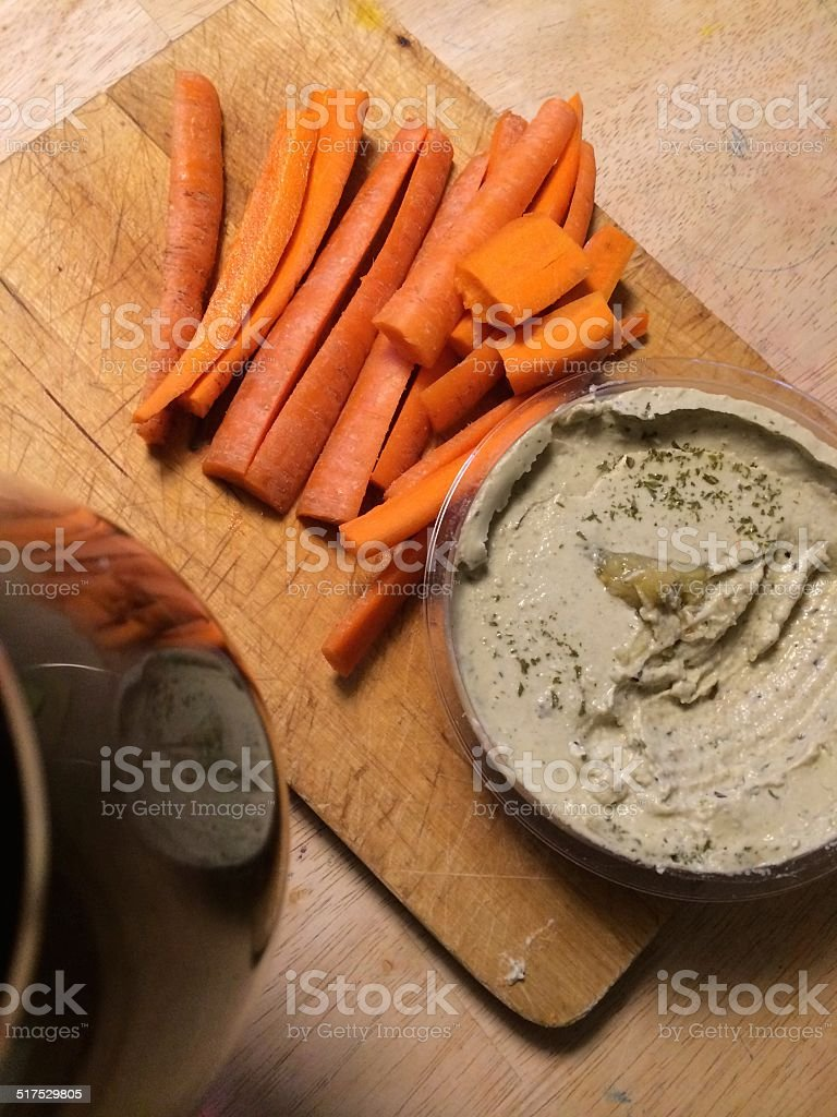 Bab Ganoush with Carrots and Red Wine stock photo