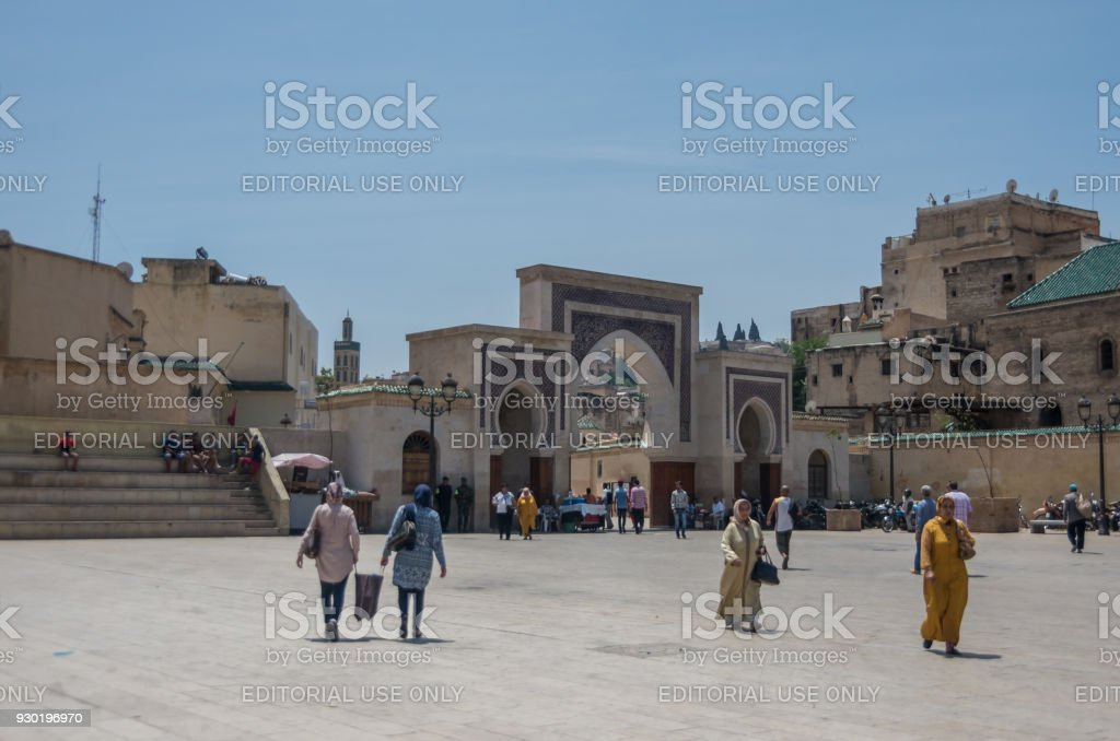 Bab Rcif gate from Rcif square. Entrance to ancient Fez El Bali Medina. Fez, Morocco stock photo