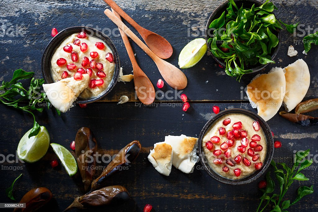 Baba Ganoush, lebanese food stock photo
