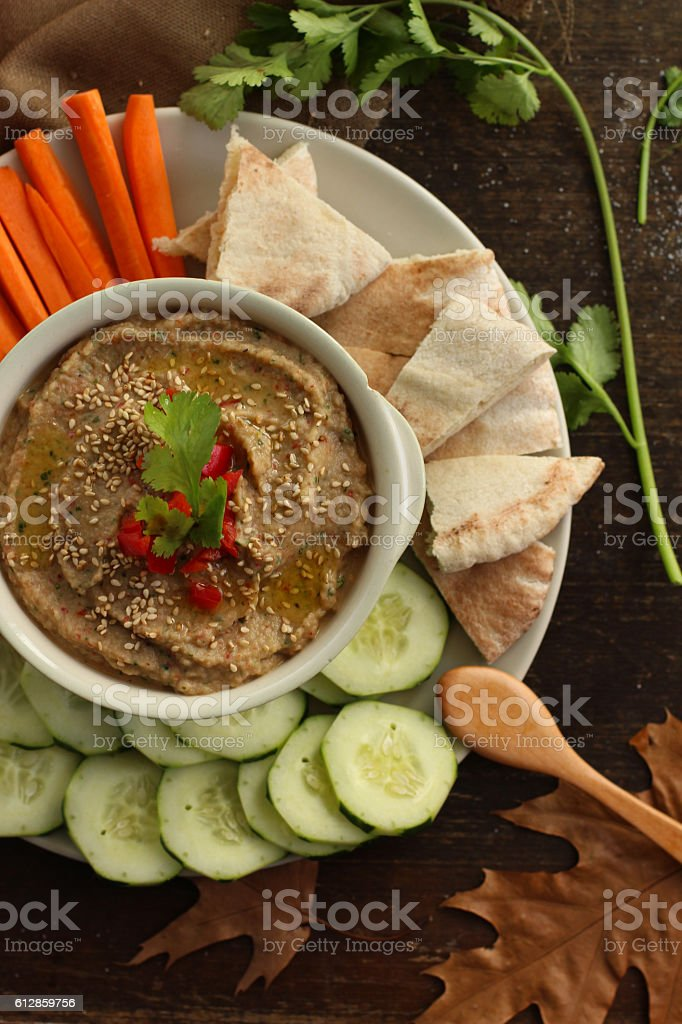 Baba Ghanoush - Arabic Food stock photo