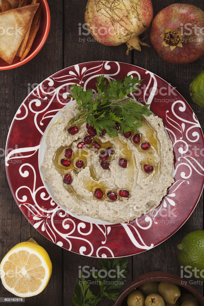 Baba ghanoush, eggplant dip stock photo