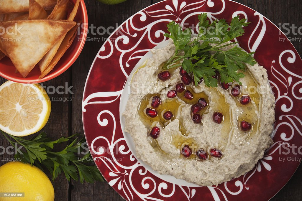 Baba ghanoush, levantine eggplant dip stock photo