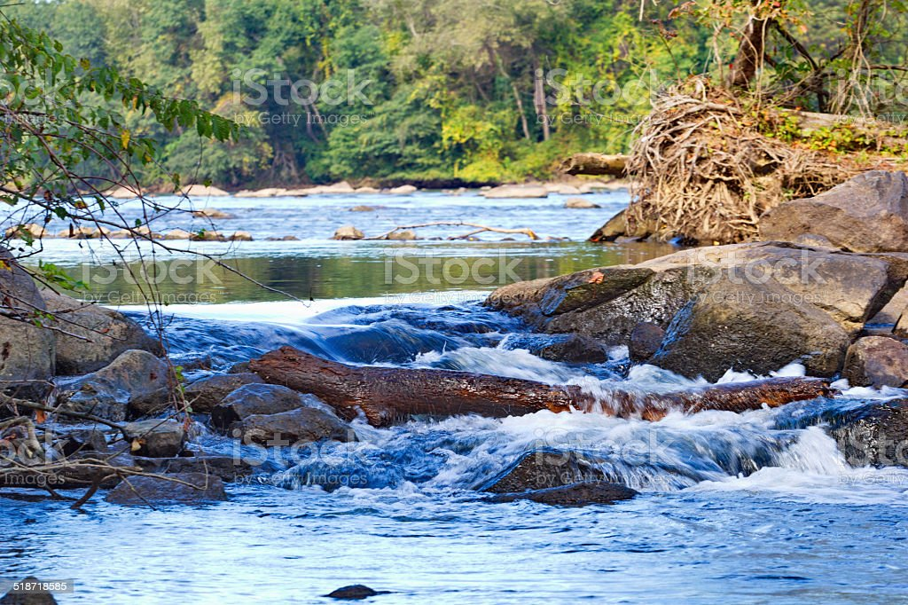 Babbling falls on Catawba River stock photo