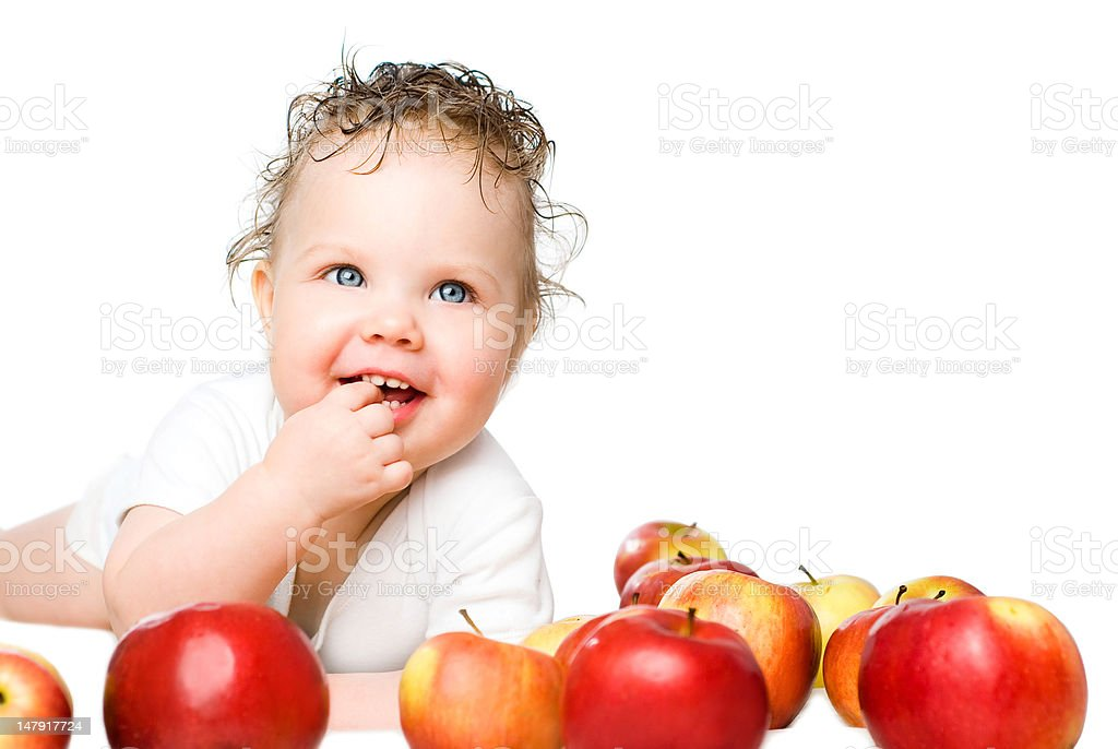babe with apples royalty-free stock photo