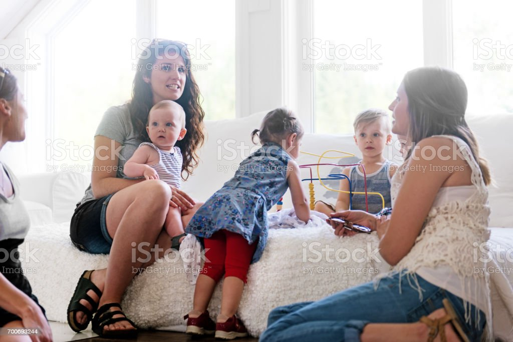 Babies and mothers meeting stock photo