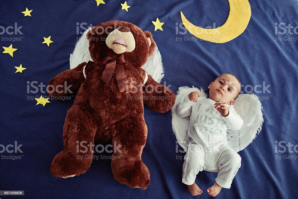 Babies are angels sent from heaven stock photo