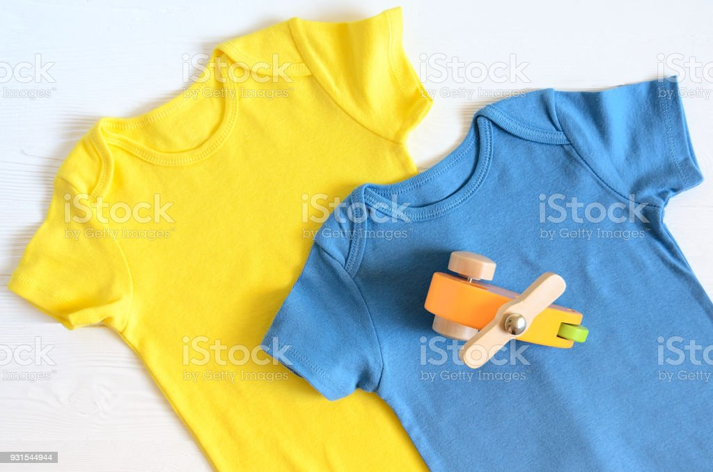 Babies Fashion Clothing Shopping Concept Flat Lay Trendy Saturated Colors  Wish List Or Shopping Overview For Pregnancy And Baby Shower Stock Photo -