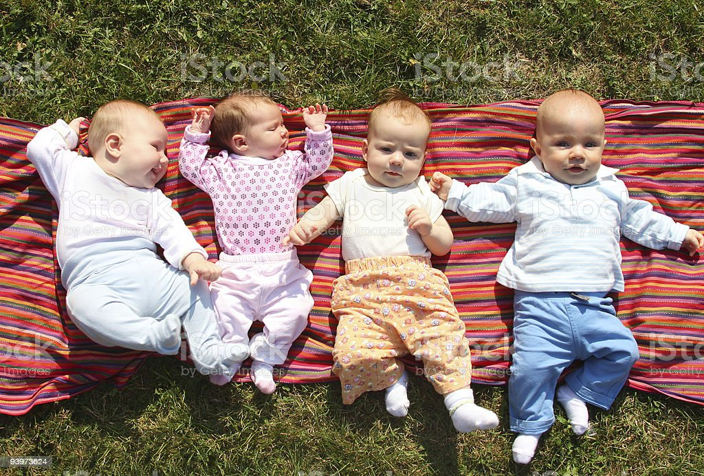 babies in park stock photo
