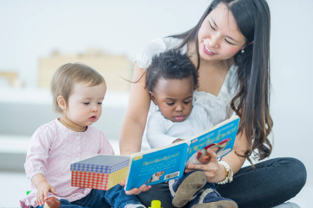 Babies Reading stock photo