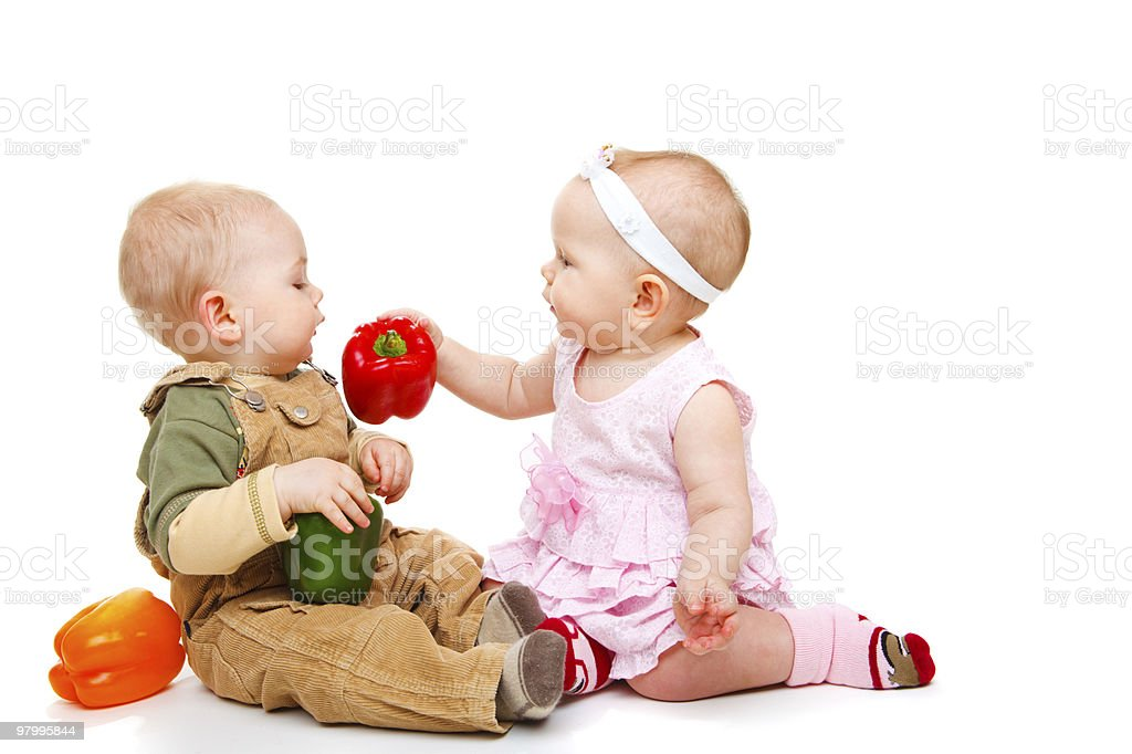 babies with peppers royalty-free stock photo