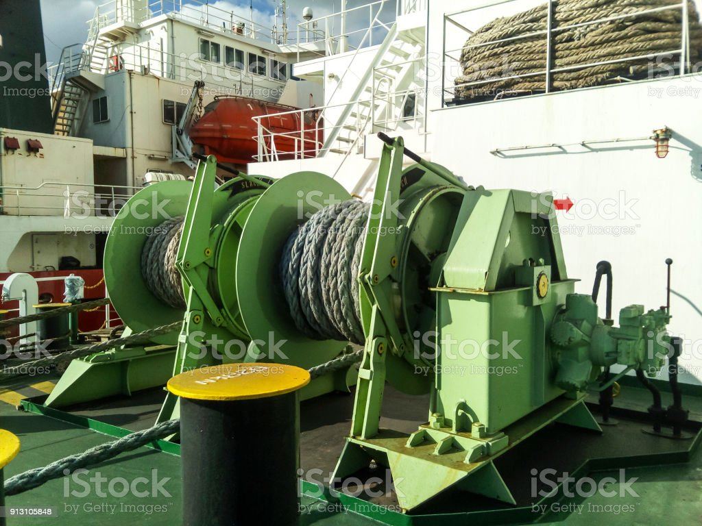 Babina with a sea mooring rope. Mooring on the ship stock photo