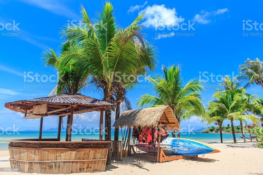 Baboo bar on white snad beach at tropical island stock photo