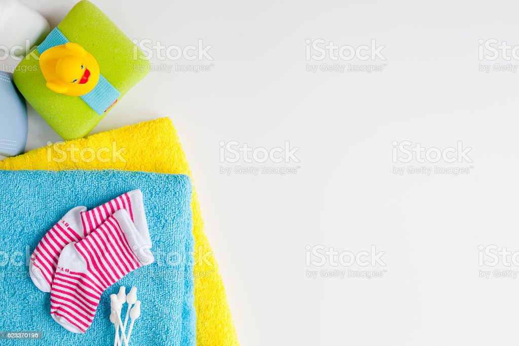 baby accessories for bath on white background stock photo