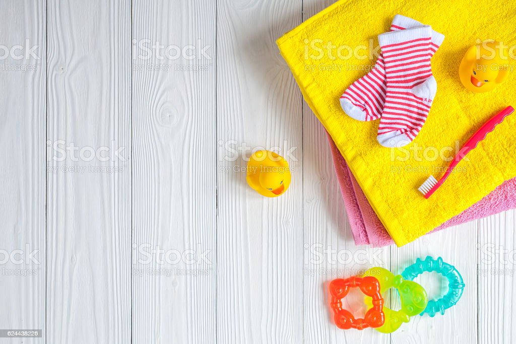 baby accessories for bath on wooden background stock photo