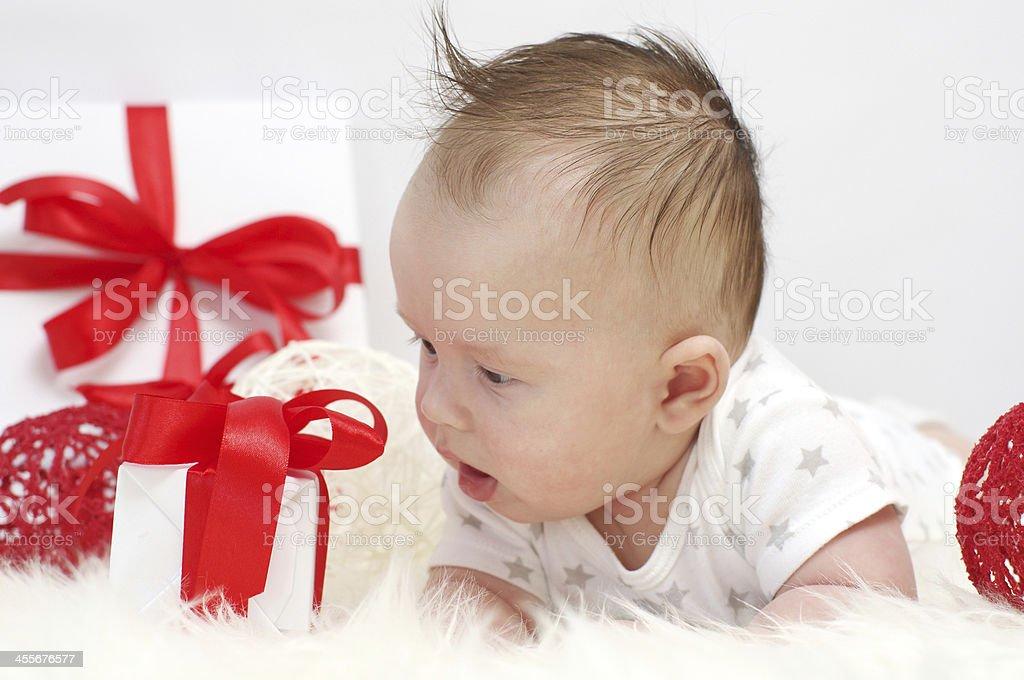 Babyalter Von 3 Monaten Mit Geschenk Stockfoto Und Mehr Bilder Von
